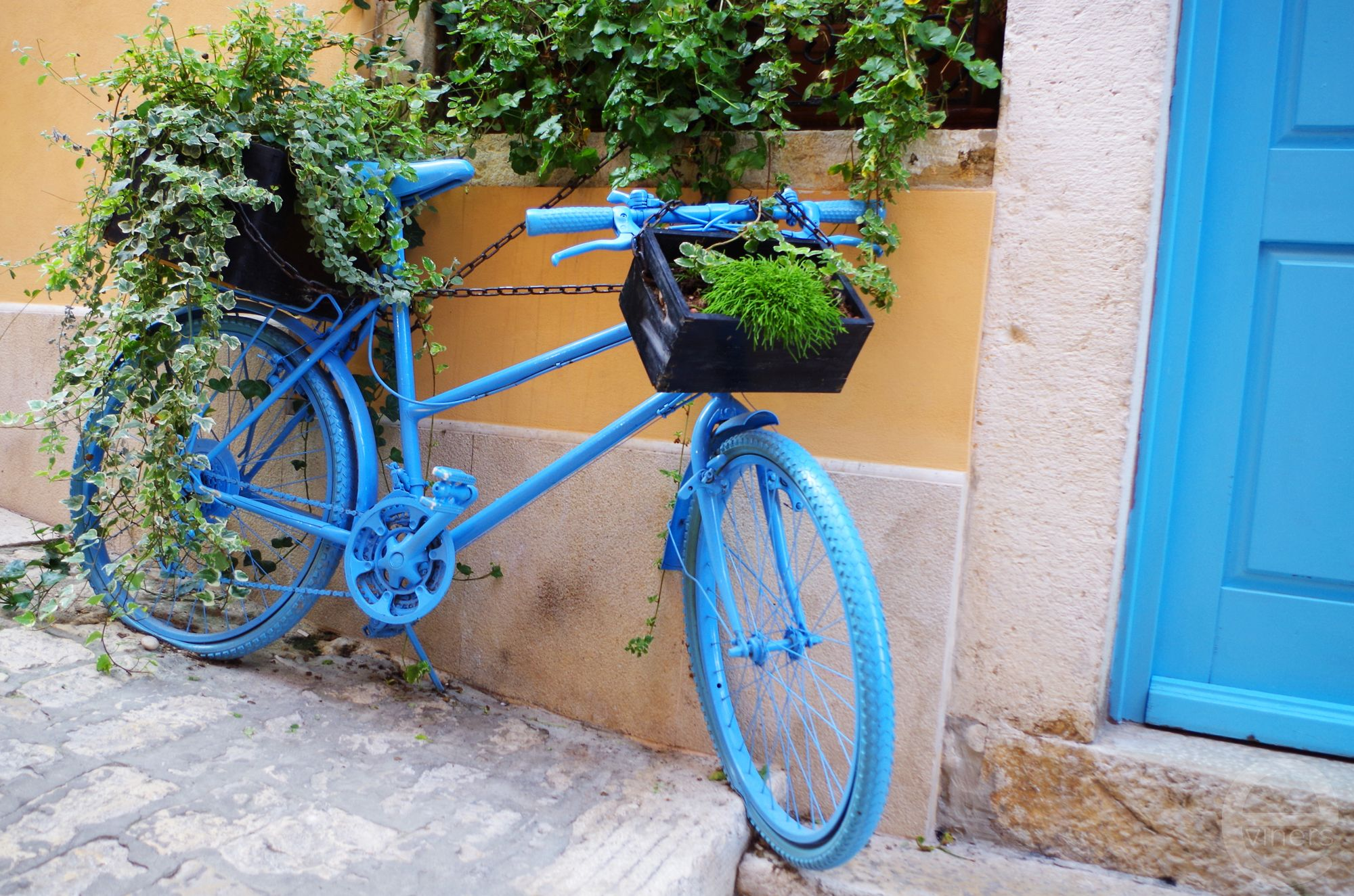Blue Bike in the Streets of Rovinj